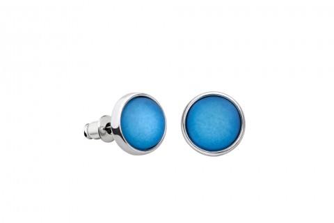 Blaue Ohrstecker in Perlenform groß