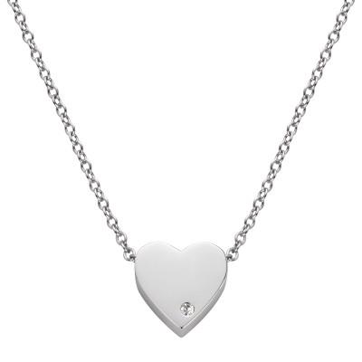 Edelstahlkette Herz mit Stein
