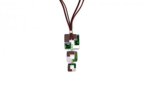 Quadrate mit Grün, Braun und Silber