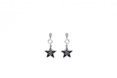 Glänzender Stern in Schwarz mit Stein