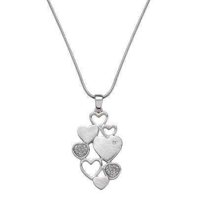 Verbundene Herzen in Silber mit Stein