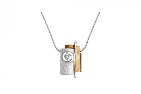 Rechtecke in Gold und Silber mit Spirale und Stein