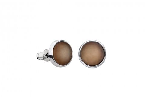 Braune Ohrstecker in Perlenform groß