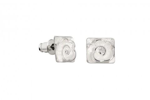 Silbernes Quadrat mit Blumenmuster