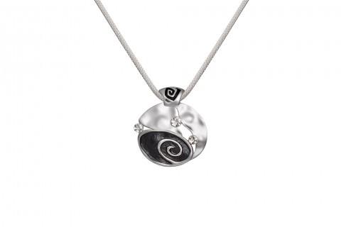 Phantasie in Silber und Schwarz mit Stein