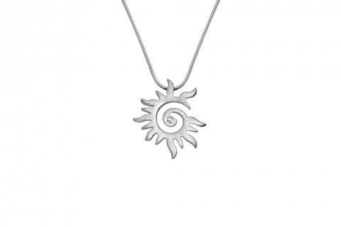 Sonne in Silber mit Stein klein