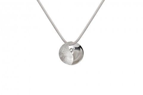 Yin Yang Anhänger in Silber mit Stein