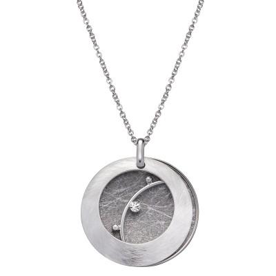 Silberkreis gescratcht mit Stein