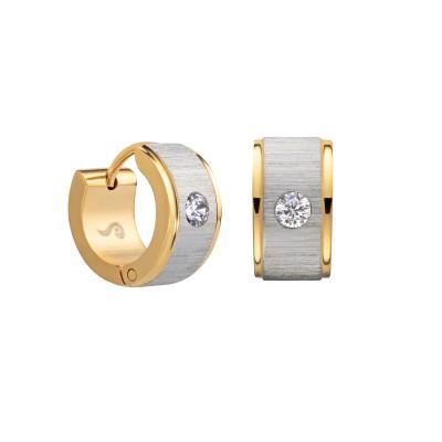 Edelstahlohrring Creole Gold/Silber mit Stein