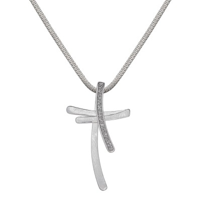 Doppeltes Kreuz in Silber mit Glitzer