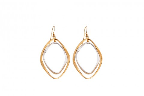 Ohrhänger mit Ringen in Gold und Silber