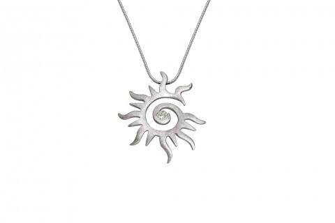 Sonne in Silber mit Stein groß