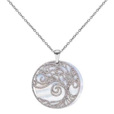 Edelstahlkette Silbernes Muster auf Perlmutt