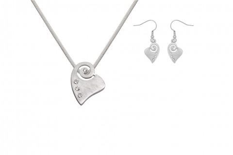 Herz und Schnecke in Silber